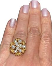 14K Yellow Gold White Pearl Diamond Vintage Ring Brutalist Free Form 1960s