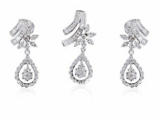 Pave 3.27 Carats Natural Diamonds Pendant Earrings Set In Fine Hallmark 18K Gold
