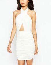 John Zack Ladies Petite Plunge Wrap Front Halter Neck Dress in White UK 12