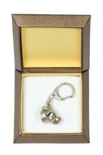 American Staffordshire Terrier Keychain in a Box Silver Plated Key Ring Usa 2725