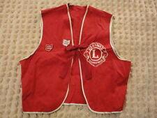 Vintage Red Lions Club International Ohio Vest w/Pins & Bow Clip
