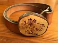 """Wooden Rustic Yellowstone Belt Buckle 1"""" Leather Belt Bear Cubs Pine Trees 32-34"""