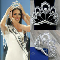 Big Size Pageant Full Round Silver Pearl Feather Shining Rhinestone Tiaras Crown
