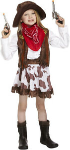 GIRLS COWGIRL FANCY DRESS KIDS COSTUME WITH SKIRT COW GIRL WORLD BOOK WEEK DAY