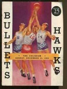 1953 NBA Milwaukee Hawks @ Baltimore Bullets Program 12/13 The Coliseum Ex