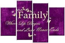 PURPLE CREAM CANVAS FAMILY QUOTE WRITING PICTURE 4 PANEL SPLIT WALL ART 100cm
