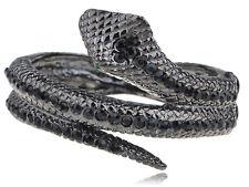 Womens Gunmetal Tone Black Rhinestones Antique Snake Wrap Bangle Bracelet