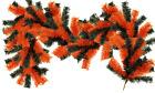 6FT Orange and Black Halloween Themed Christmas Brush Garland Outdoor Decor