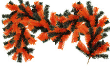 6FT Orange and Black Halloween Themed Christmas Brush Garland Outdoor Decor