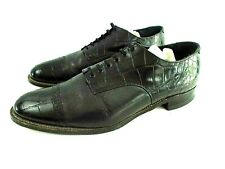 Stacy Adams Men 11 EE Black Croc Embossed Leather Cap Toe Formal Oxford Shoes
