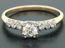 Vintage 14k Two Tone Gold Engagement Ring .63ctw European & Single Cut Diamonds
