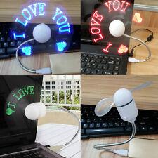 USB LED Letters Pattern Flashing Message Fan Programmable Laptop PC Cooler 2016