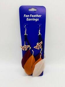 NCAA Virginia Tech Hokies Fan Feather Earrings
