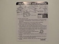 1977 LINCOLN CONTINENTAL TOWN CAR TRUNK JACK INSTRUCTIONS DECAL D7VB-17093-AB