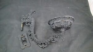 VINTAGE CAST IRON WALL SCONCE WITH BRACKET OIL LAMP HOLDER SWING ARM