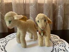 Pair Of Vintage Steiff Lambs Lamby 1953-1958 Bell Collar IDs