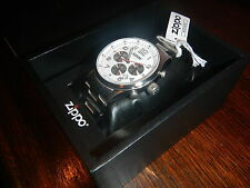 Zippo White Face Chronograph Sport SS Band Watch 45000