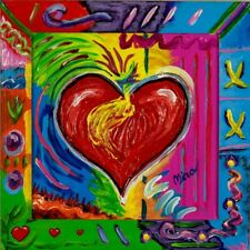 Heart Painting Pop Art Style Artist Signed Mira Wood Painted Frame COA