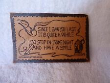 Antique c1907 LEATHER Postcard Since I Saw You Last ... Unposted Clean by Heal