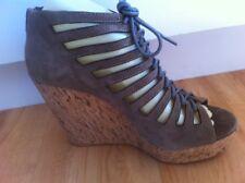 Ladies Khaki Suede MISS SHOP Wedges AUS Size 8 EU 39 Strappy  Platform Cork