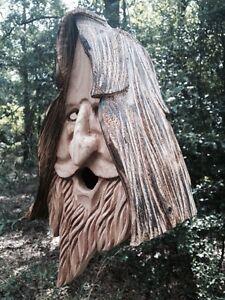 Wood Spirit rustic Hand Carved Cedar Bird House Birdhouse Happy With Hair