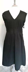 TOAST Uk 10 Black Cotton Fit & Flare Midi Length Dress Sleeveless Heavy Cotton