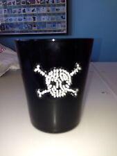 New Bling Skull Crossbones Pirate Black Glass Tumbler Cocktail halloween gothic