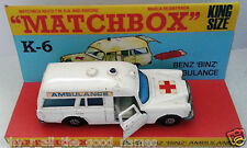MATCHBOX Diecast SPEED KINGS K-26 BENZ BINZ AMBULANCE & K-6 Custom Display [w]