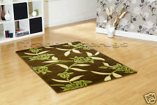 Large Chocolate Brown Lime Green Rug Beige 160x225