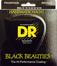 DR BKA-12 Extra Life Black Beauties Coated Acoustic Guitar Strings 12-54 medium