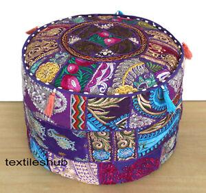 Purple Pouf Cover Cotton Ottoman Indian Handmade Sari Patchwork Floor Sofa Throw
