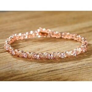 Morganite Oval Tennis Bracelet 14k Rose Gold Plating  Silver  Pink Peach Oval