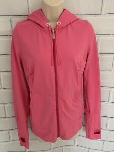 Alo Yoga Hoodie Pink S Full Zip Long Sleeve Sweatshirt Thumbholes Pockets Cinch