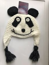 Panda Knit Beanie Hat Junior One Size By Critter Collection