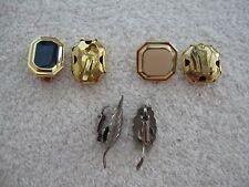 3 Pair Clip On Earrings Silvertone Leaf Navy Blue Cream Enamal Gold Mixed Metals