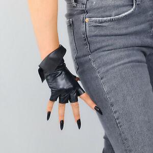 💯% REAL LEATHER FINGERLESS GLOVES Black Wrist Foldover Lambskin Half Finger