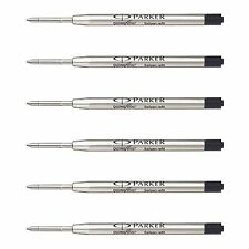 6 x Parker Quink Flow Ball Point Pen Refill Refills, 0.8mm Fine Tip, Black Ink