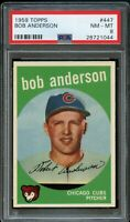 1959 Topps BB Card #447 Bob Anderson Chicago Cubs PSA NM-MT 8 !!