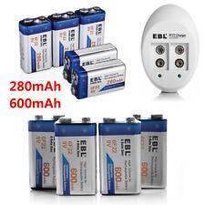 EBL 280/600mAh Ni-Mh/Li-ion 9V 6F22 Rechargeable Batteries +  9 Volt USB Charger