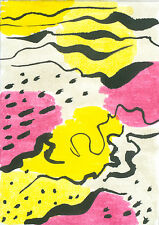 Original hand painted ACEO Abstract marks miniature art