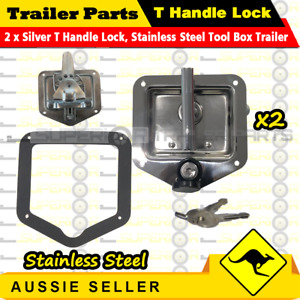 2PCS Silver T Handle Lock & Studs Flush Mount, Stainless Steel Tool Box Trailer