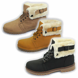 GIRLS WINTER BOOTS WARM LINED HIGH TOPS LADIES ANKLE DESERT SHOES WOMENS BOOTS