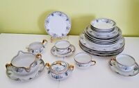 Limoges Haviland France 24 pieces set Laurel and Swags blue pattern 1905-1930