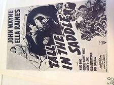 """Tall In The Saddle"" John Wayne Movie Exhibitor's' Manual / Poster, Ships Free!"
