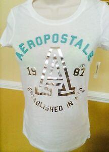 NWT $24.50 Women's AEROPOSTALE, SIZE S/P white short sleeve embelished t shirt