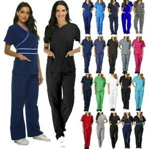 Women Nurse V-Neck Top Long Pants Doctor Scrub Set Uniform Set 2PCS