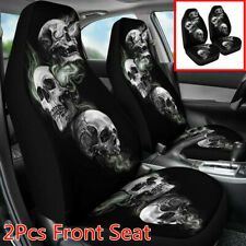 2Pcs Polyester Fiber Car Front Seat Covers 3D Skull Printing Protector Cushion