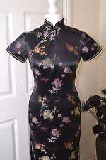 Long Chinese Dress Cheongsam Qipao Black Size 34 UK 8 BNWT RRP £55