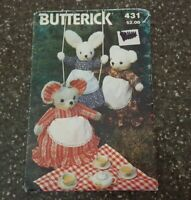 Butterick 431 Pattern Stuffed Dolls Rabbit Mouse Bear and Clothes Uncut