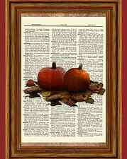 Halloween Pumpkins Dictionary Art Print Pumpkin Patch Fall Harvest Picture OOAK